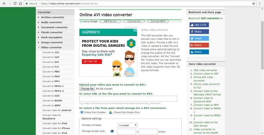 free mov to avi converter Online Convert