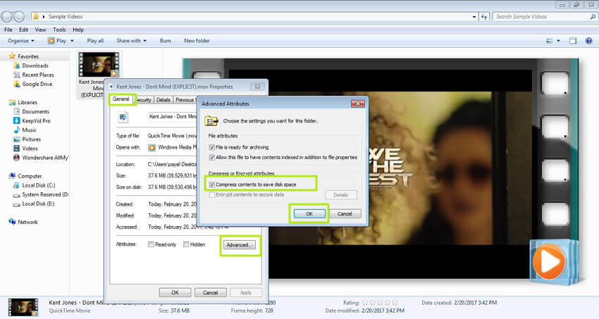 compress mov content to save space