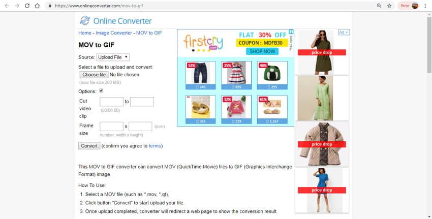 mov para gif online - conversor online