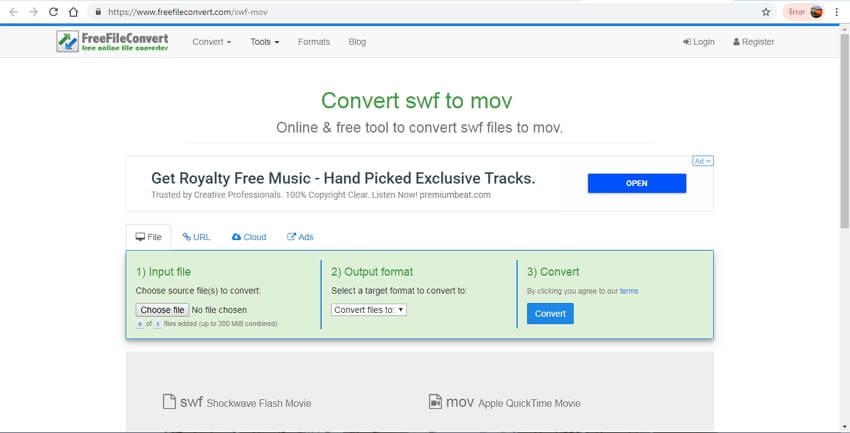 online SWF to MOV converter - FreeFileConvert