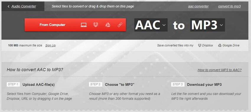 convert aac to mp3 online