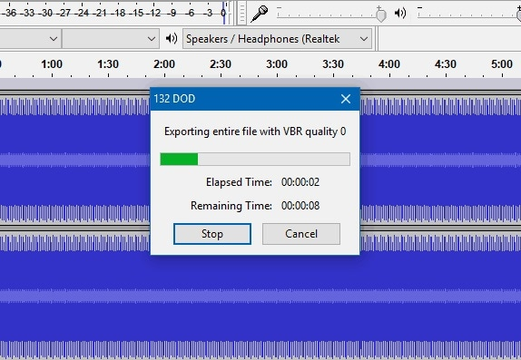 convertir l'audio en mp3 dans audacity