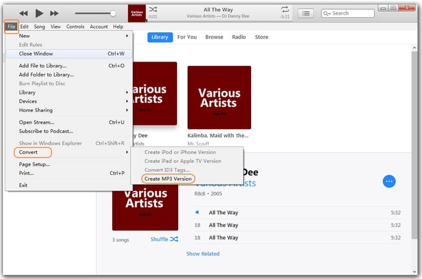 create mp3 version from aac
