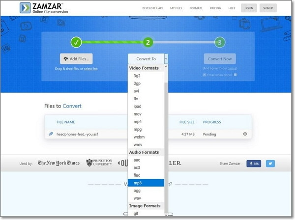 convert ASF to MP3 by ZAMZAR