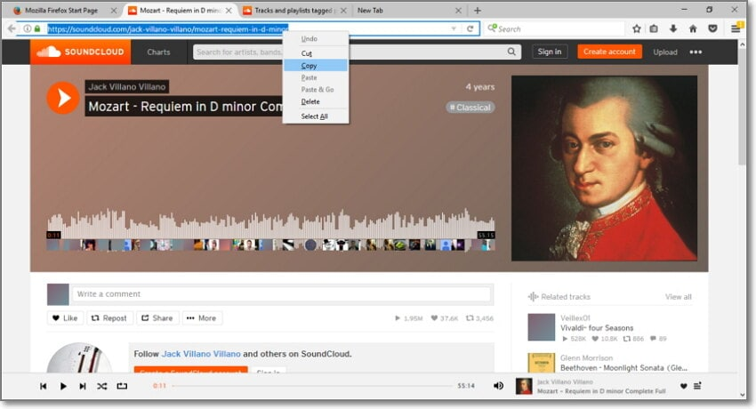 copy soundcloud url