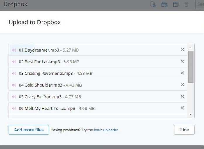 Upload MP3 files to Dropbox