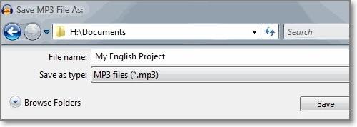 choose file type as mp3