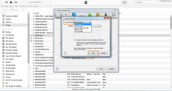 convert mp3 to wmv in itunes-select wav encoder
