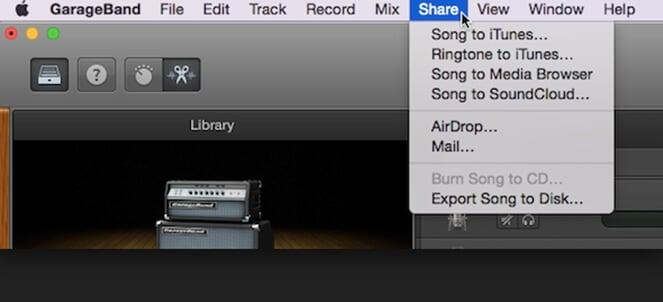 the process of exporting garageband file