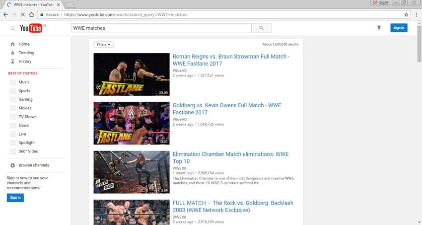 Download WWE match videos to MP4 - Youtube