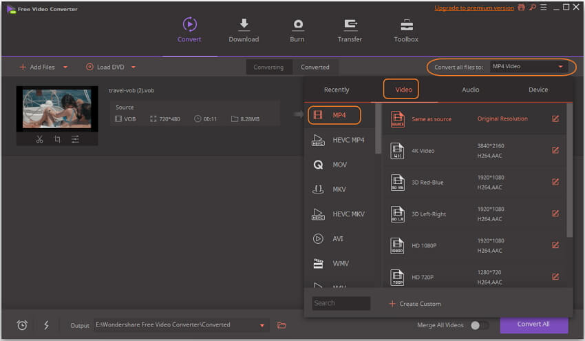 Select MP4 as output format in this free converter
