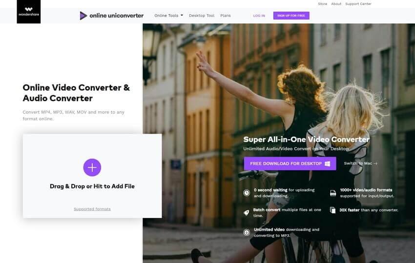 Convert MP4 to MP3 with Online UniConverter (originally Media.io)