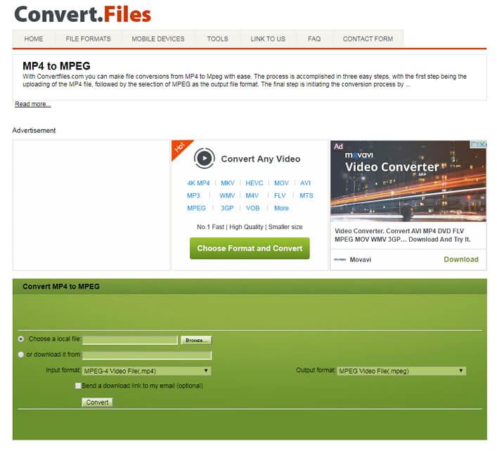 online MP4 to MPEG conversion
