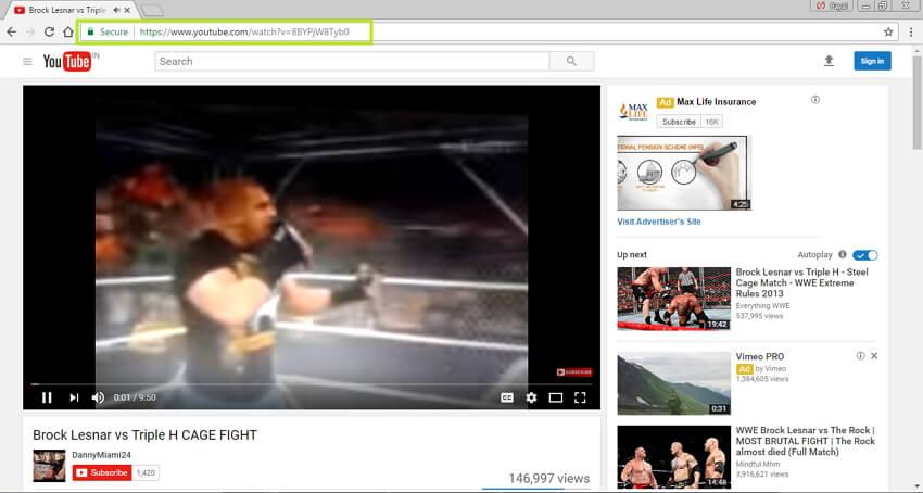 Open desired WWE video