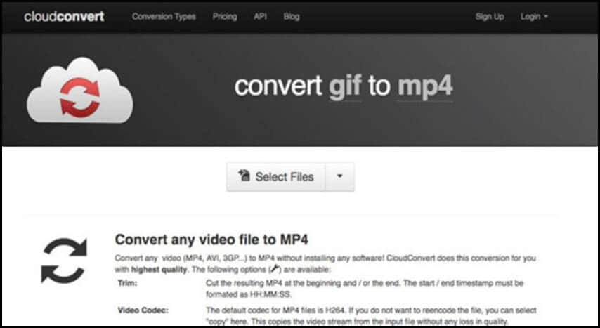 GIF to MP4 CloudConvert