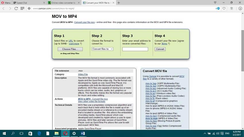 Online MP4 to MOV Convert - Zamzar
