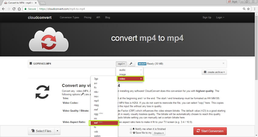 convert MP4 to SWF online - select SWF format