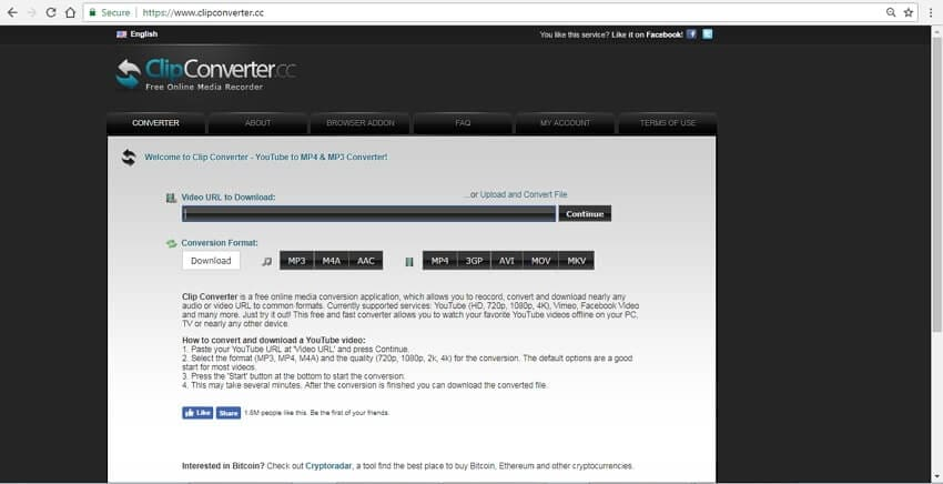 youtube to MP4 online Clipconverter