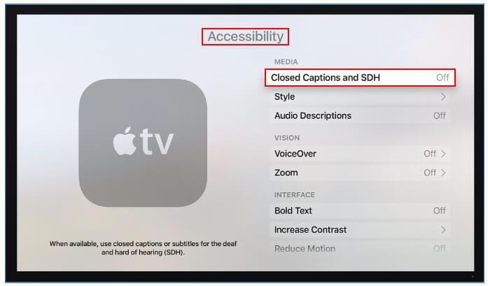 turn on subtitles on apple tv