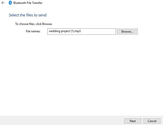 transfer via Bluetooth