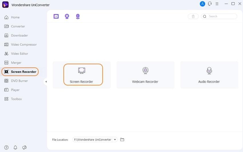 Launch Wondershare Screen Recorder function