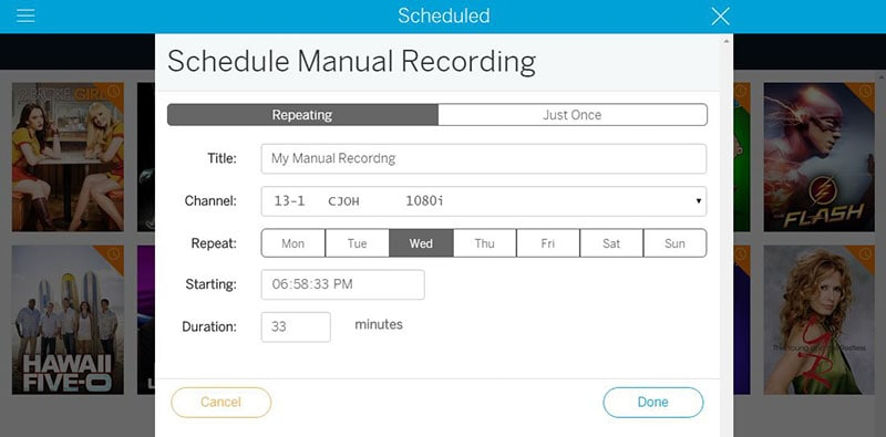 set recording