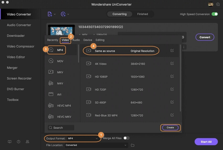 Select MP4 as the output format for the MOV to MP4 conversion on Mac