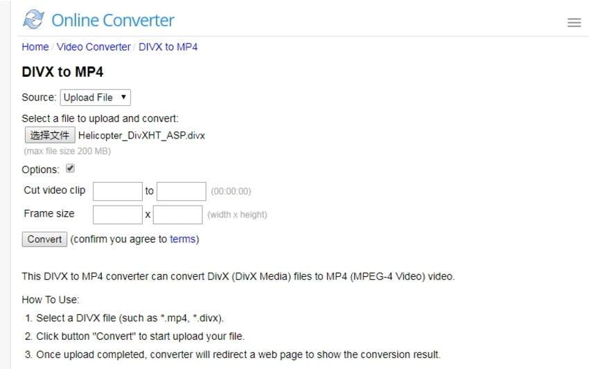 converting DivX to MP4 online