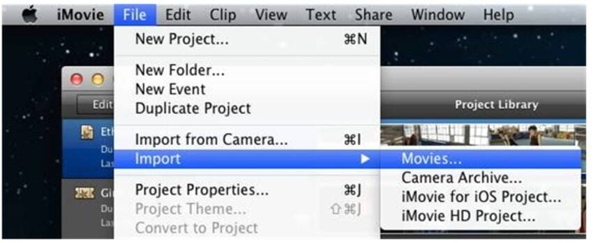 Import MOD files to iMovie