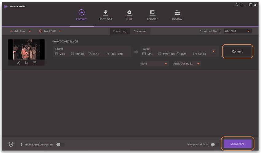 Start converting VOB to MP4
