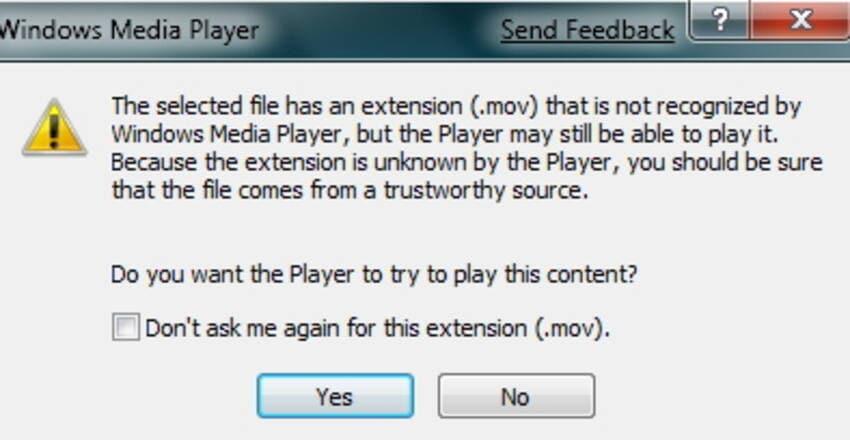 windows media player not play mov error