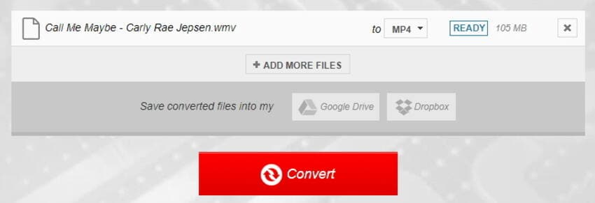 Start converting the WMV file to MP4