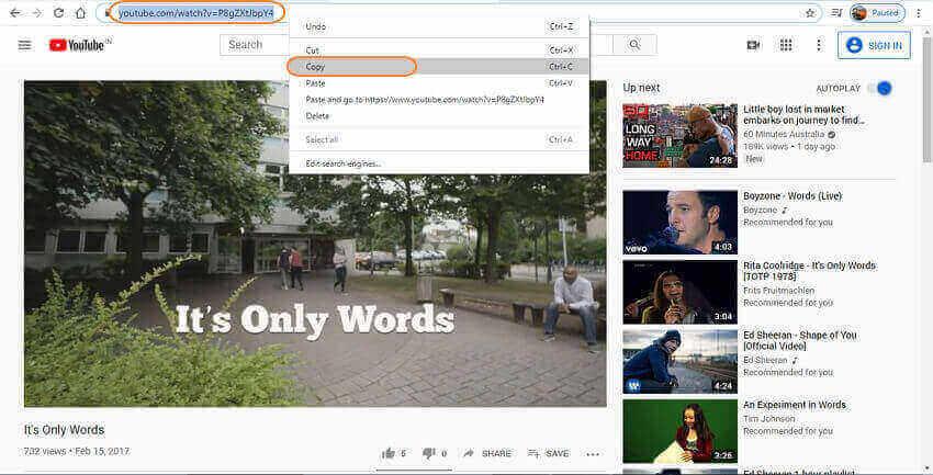 copy YouTube playlist URL