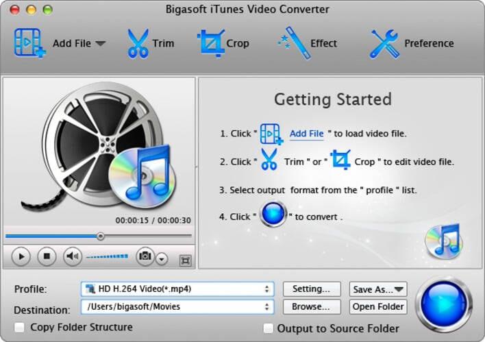 iTunes video converter online - Bigasoft iTunes Video Converter