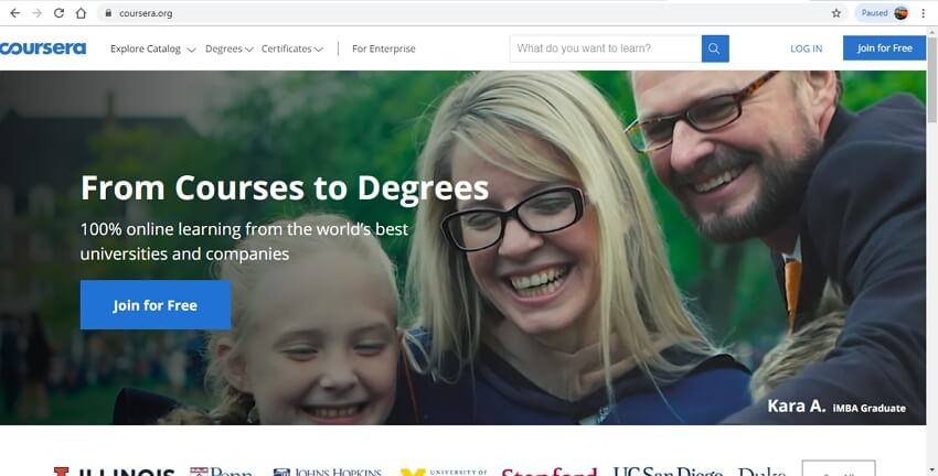 best online learning sites - Coursera