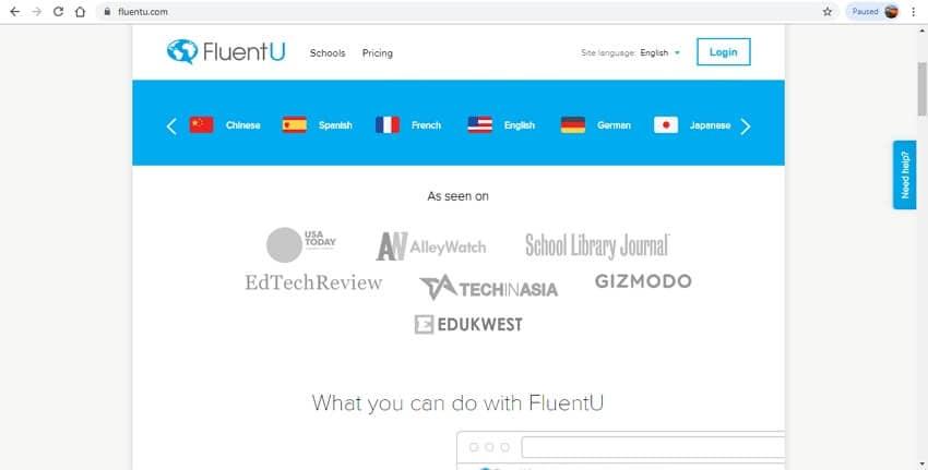 language learning sites - FluentU