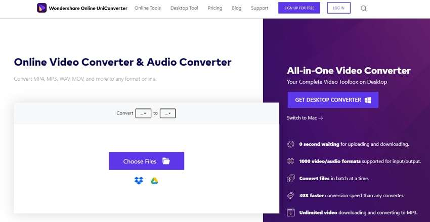 Online UniConverter converts video to MP3