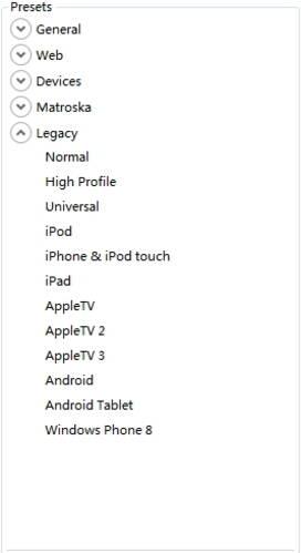 make output settings for Handbrake for Windows