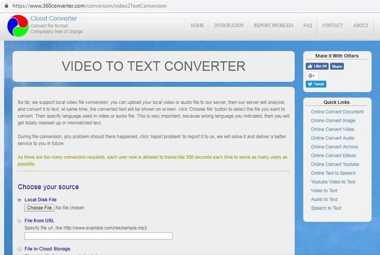 online video to text converter 360Converter