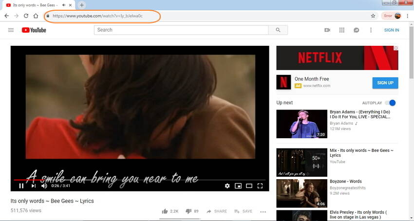 copy YouTube URL to download