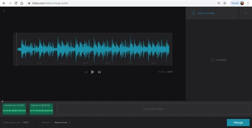audio merger clideo