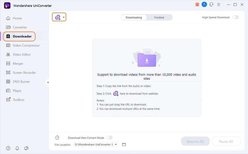 Install and run Wondershare UniConverter