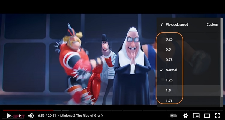 Choose the playback speed