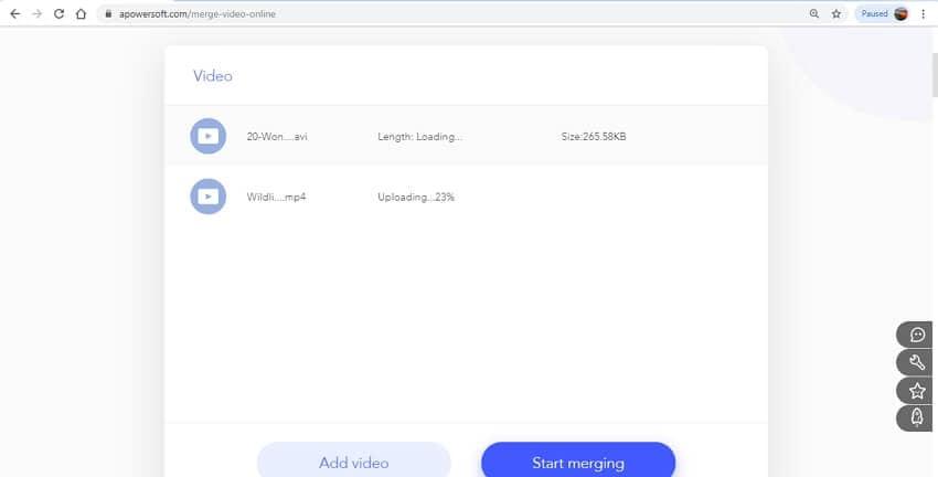 mesclar vídeo online - APowersoft