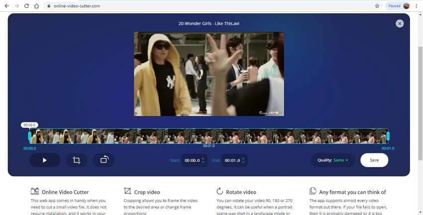 mesclar vídeo online - Online Video Cutter