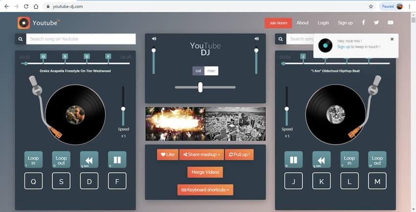 mixer des chansons en utilisant Youtube DJ