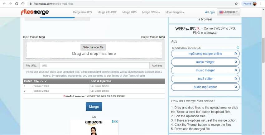 online audio joiner - FilesMerge