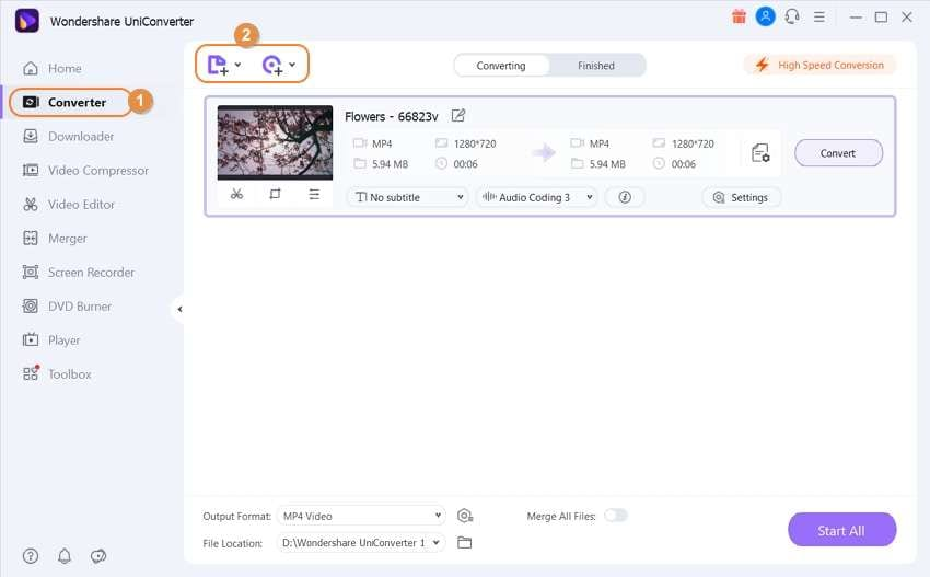 Upload the video file to speed up video