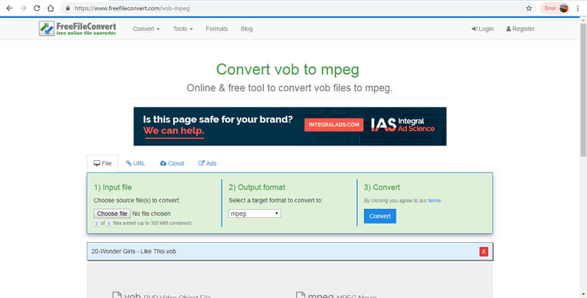 online VOB to MPEG converter - FreeFileConvert