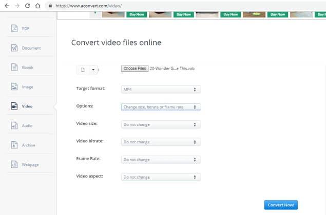 online vob converter - AConvert
